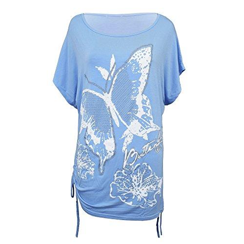 nbsp; Plus T Top Loose donna 8 Nuovo Shirt Uk stampa da paillettes a maniche Size da donna Taglia pipistrello Baggy wIIHqZO