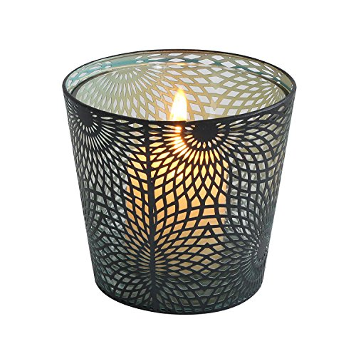 Adeco Decorative Sunflower Design Metal/Glass Votive Candle Holder - 4.1 Inches - Black by Adeco