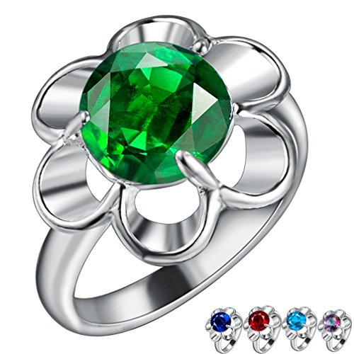 FENDINA Womens Silver Plated Gorgeous Flower Manmade Round Cut Emerald Solitaire Promise Engagement Wedding Bands Eternity Collection Anniversary Rings for Her Valentin's Day (Artcarved Wedding Bands Round Ring)