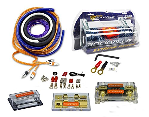 Rockville RXC4D 4 Farad Capacitor+UDA0+4K Dual 0/4 AWG Amp Install Wire Kit ()