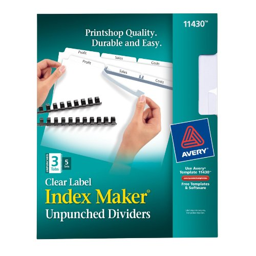 Avery Index Maker Clear Label Dividers, 3-Tab, 8.5 x 11 I...