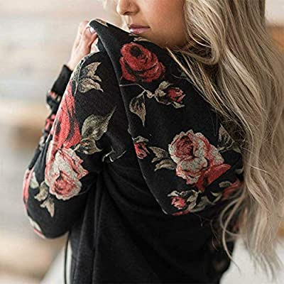 NEWCOSPLAY Women Hoodies-Tops Floral Printed Long Sleeve Drawstring Sweatshirt with Pocket at Women's Clothing store
