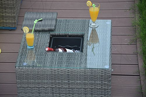 Direct Wicker Outdoor Square Cooler Table Patio Wicker Bar Table with Ice Bucket- Grey Wicker