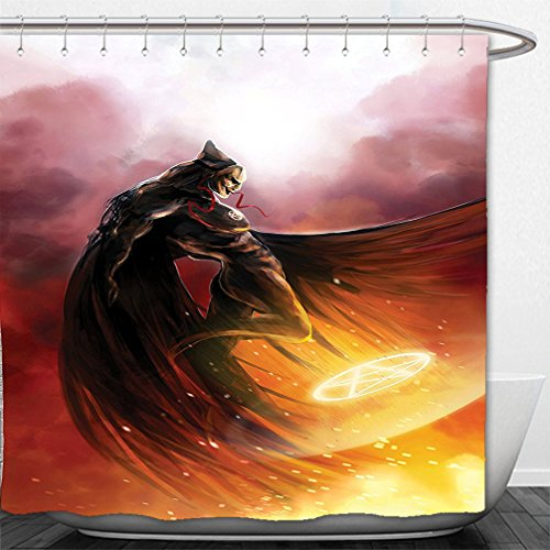 Interestlee Shower Curtain Fantasy World Decor Superhero in His Original Costume Flying Up to Magic Flame Save the World Theme Yellow (Superhero Costumes Brooklyn)