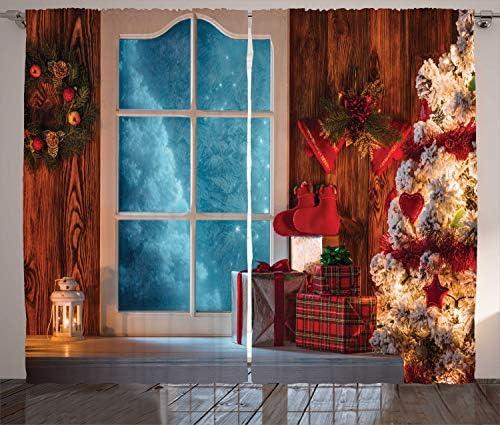 ABAKUHAUS Natale Tenda, Congelato Snowy Casa, Rinfresco Indulgente e Veloce Due Pannelli Set, 280 x 245 cm, Rosso Blu