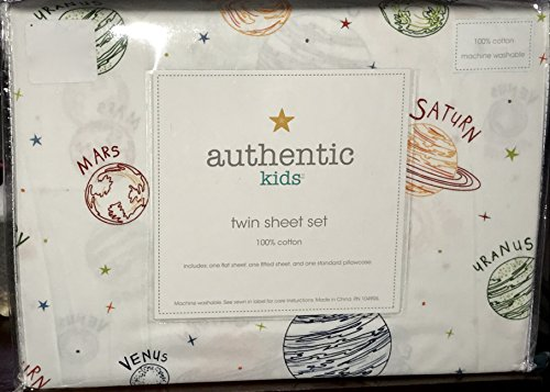 TWIN SIZE (ALL COTTON) 3-pc PLANETS / SOLAR SYSTEM Sheet Set (authentic kids) by authentic kids