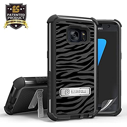 Samsung Galaxy S7 phone case, Heavy Duty Protection White Black Zebra Case with built-in kickstand & FREE Screen Sales