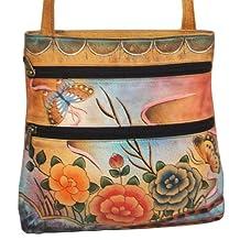 Anuschka Hand Painted Genuine Leather Small Travel Crossbody Bag (Premium Rose Antique)