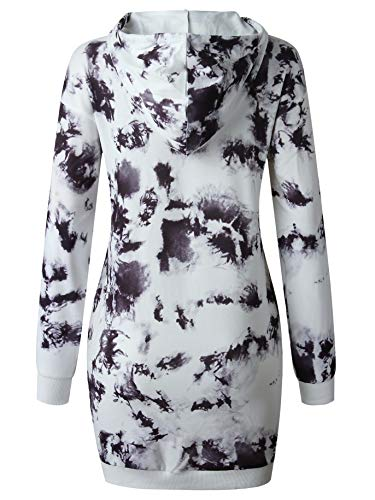 LOGENE Women's Tie Dye Printed Long Hoodie Sweatshirt Casual Long Sleeve Pullover Hoodie Dress with Pockets (1# Black & White, L) 265-heibai-L