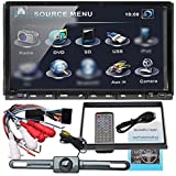 "Ouku Double 2 Din In Dash Head Deck 7"" Inch LCD Car DVD Player Stereo Radio Mp3 SD USB RDS Auto Slide Down Large LCD Steering Wheel Control+Rear Camera Included"