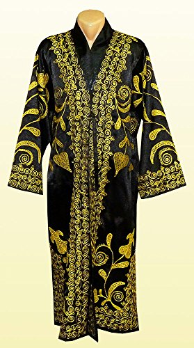 STUNNING UZBEK GOLD SILK EMBROIDERED ROBE CHAPAN FROM BUKHARA A7532 by East treasures