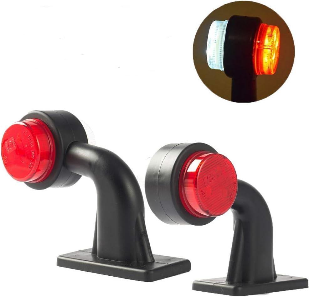 WildAuto Luces Posicion Marcador Lateral De Luces Galibo Para Coche, Camión,Remolque, Motocicleta - 6 Diodes - Luces De Goma De Doble Cara Negro Tallo - 12 V 24 V - Rojo - 2 Pcs