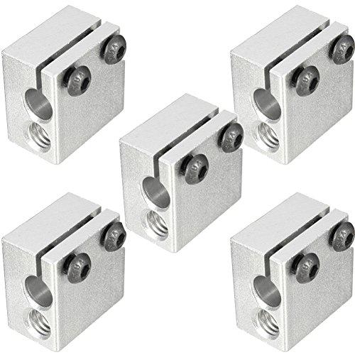 Wangdd22 5PCS V6 Volcano Aluminium Heater Block for E3D Volvano Print Head Hot End Heating Block for 3D Printer Parts