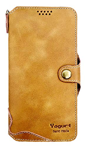 Yogurt for Samsung Galaxy S10 Genuine Leather Wallet Cases Cover Handmade Brown
