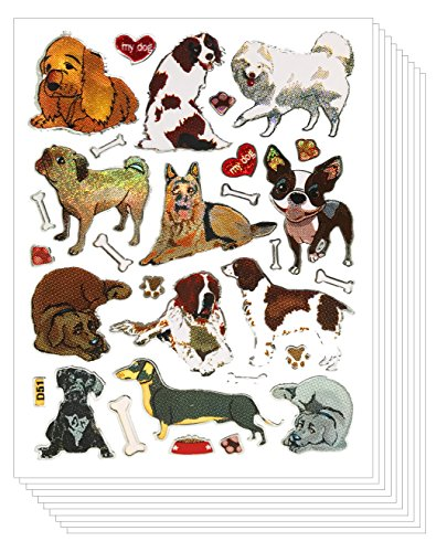 Glitter Cute Dog Scrapbook Stickers for Kids (10 sheets)