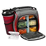 Image of Thermal Insulated Lunch Bag Bento Box - Kit with 6 Leakproof Food Containers + 28oz Drink Bottle with Shaker + Ice Pack + Case for Pills – Compact and Lightweight Cooler for School, Work, Picnic & Gym