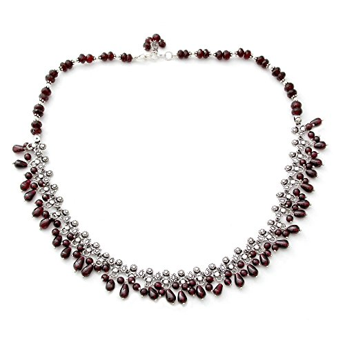 NOVICA Garnet .925 Sterling Silver Waterfall Necklace, 18.0 Mughal Regent