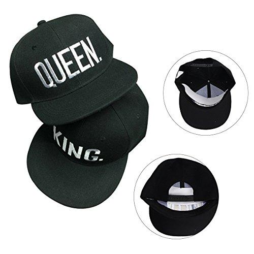 Con Weiß negro King las hop verano «Queen» hip Gorra blanco Yodensity béisbol Estilo Para y de dorado En «King» palabras qSwnFRt