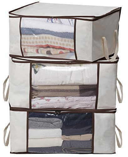 MISSLO Thick Oxford Clothing Organizer Storage Bags for Clothes, Blanket, Comforter, Closet, Medium, 3 Piece Set (Beige) (Plastic Bedding Storage Bags)