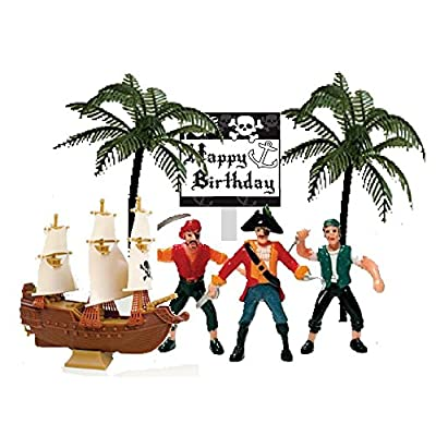 Cakesupplyshop Pirate Ship Pirate Revenge Happy Birthday Sign Mini Cake Decoration Toy Cake Topper: Toys & Games