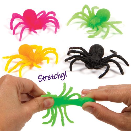 Stretchy Spiders for Children to Play with Perfect Party Bag stuffer Small Gift Idea for Kids (Pack of 12)