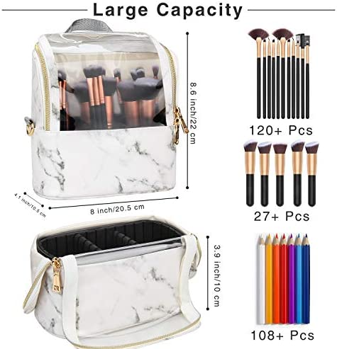 Makeup Brush Case Stand-up Makeup Cup Makeup Brush Holder Travel Professional Cosmetic Bag Artist Storage Bag with Shoulder Strap and Adjustable Divider (Marble)