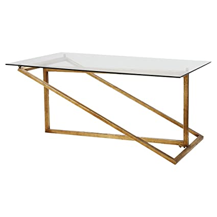 Kathy Kuo Home Jill Modern Minimal Gold Iron Glass Coffee Table