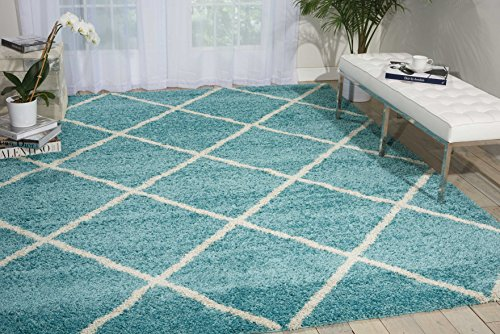 Aqua Chic Collection Rug (Nourison Brisbane/Amore (BRI03) Aqua Rectangle Area Rug, 8-Feet 2-Inches by 10-Feet  (8'2