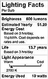 Maxxima LED A19 - 800 Lumens 60 Watt Equivalent Warm White (2700K) Light Bulb, 10 Watts (Pack of 6)