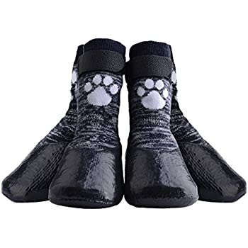 Dog Socks Anti Slip with Velcro Straps Traction Control Waterproof Paw Protector, L by KOOLTAIL