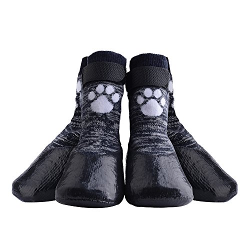 KOOLTAIL Dog Socks Anti Slip with Straps Traction Control Waterproof Paw Protector, M (Dog Rubber Boots)
