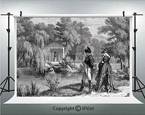 Napoleon Fabric - Vintage Photography Backdrops Historical French Revolution Sketch with Napoleon and Woman in Garden Artwork,Birthday Party Background Customized Microfiber Photo Studio Props,8x8ft,Dark Grey Black
