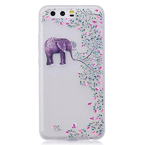 Funda Huawei P10,XiaoXiMi Carcasa de Silicona TPU Suave y Esmerilada Funda Ligero Delgado Carcasa Anti Choque Durable Caja de Diseño Creativo - Mapa Flores de Elefante