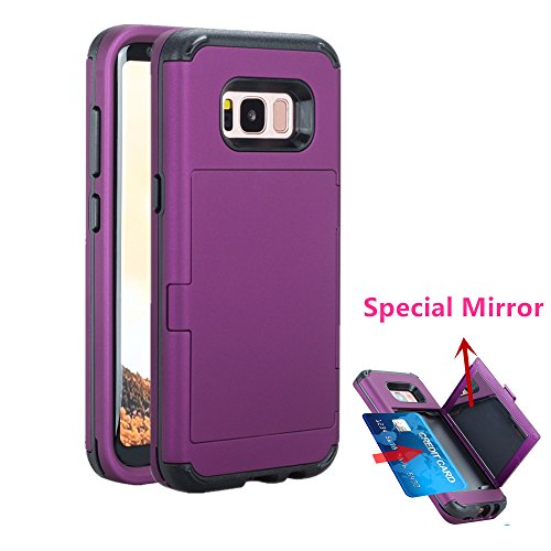 Galaxy S8 Plus Case  Aoker  Special Style   Card   Mirror  Three Layer Slidable Card Holder  Id Credit Card Slot Hidden Pocket Protective Wallet Case Cover For Samsung Galaxy S8 Plus  Purple