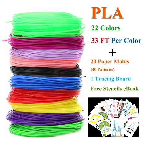 3D Pen Filament Refills PLA with Stencils Ebooks & Paper Mold for 3D Printing Printer Pens, Coideal 22 Assorted Color 722 Linear ft 1.75mm Filament Pack with 40 Patterns of 20 Paper Molds