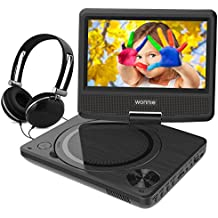 WONNIE 7.5 Inch Portable DVD Player with Swivel Screen, USB/SD Slot and 4 Hours Rechargeable Battery, Perfect Gift for Kids (Black)