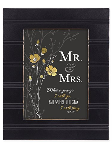 Mr & Mrs Black with Gold Trim 8 x 10 Framed Wall Art Plaque (Cottage Plaque Wall)