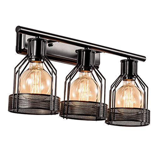 Black Vanity Light Industrial Bathroom 3 Lights Retro Cage Wall Sconce Metal -