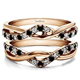 Black And White Diamond Criss Cross Infinity Ring Guard Enhancer with 0.23 carats of Black And White Diamonds (G-H,I2-I3) in Rose Gold Plated Sterling Silver