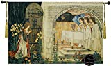 Achievement of the Grail Medieval wall hanging tapestry home decor with tassels Size 55''X39'' holy Grail