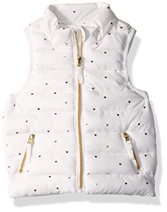 923cf7b44 Gymboree Baby Girls Puffer Vest, White/Gold Heart, 0-3 Mo