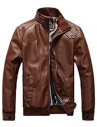 Sawadikaa Men's Leisure PU Faux Leather Jacket Windbreaker Motor Jacket