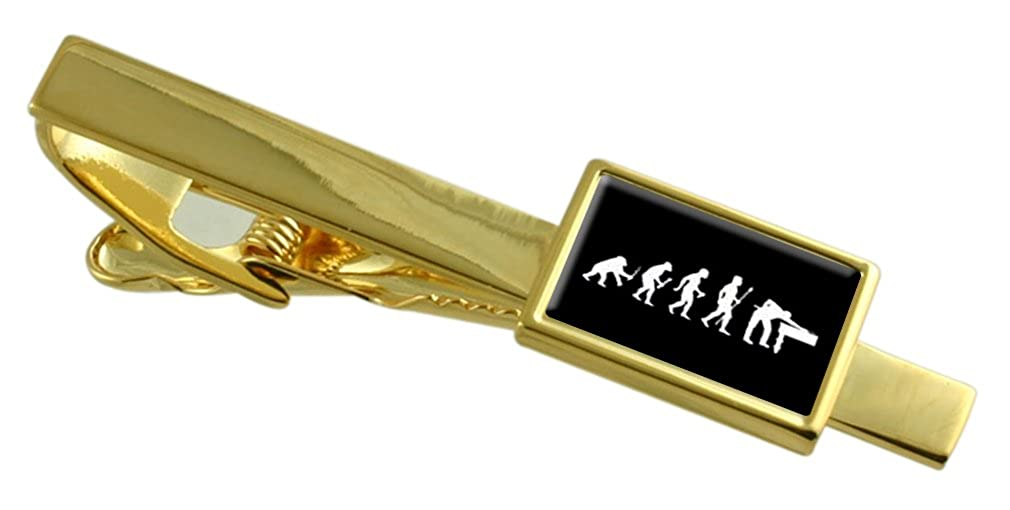 Select Gifts Evolution Ape to Man Snooker Pool Gold-Tone Tie Clip Pouch