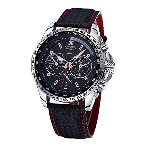 Megir Mens Quartz Analog Watch Genuine Leather Strap With Sub Dial Business Dress Wristwatches