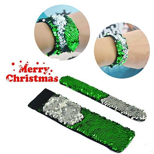 Mermaid Bracelet - 2 Color Reversible Sequin Bracelets ¨CMagic Party Supplies Favors Slap Bracelet for Women, Girls and Kids. (Sliver-Green)