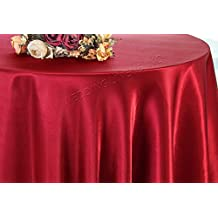 "Wedding Linens Inc. 120"" Round Heavy Duty Seamless satin tablecloths Table Cover Linens for Restaurant Kitchen Dining Wedding Party Banquet Events - Apple Red"