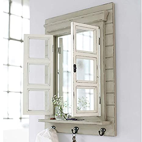 Zauberhafter Landhaus Wandspiegel mit Fensterläden, Shabby Chic weiß ...