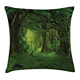 Queen Area Nature Decor Deep Tropical Jungle Trees Foliage Woodland Asian Himalayas Meditation Landscape Square Throw Pillow Covers Cushion Case Sofa Bedroom Car 18x18 Inch, Green