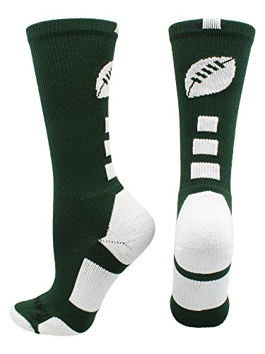 Elite Girls Glove (MadSportsStuff Football Logo Crew Socks (Dark Green/White, Medium))