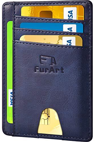 (FurArt Slim Minimalist Wallet, Front Pocket Wallets, RFID Blocking, Credit Card Holder with Disassembly D-Shackle (Vintage Cowhide Royalblue))